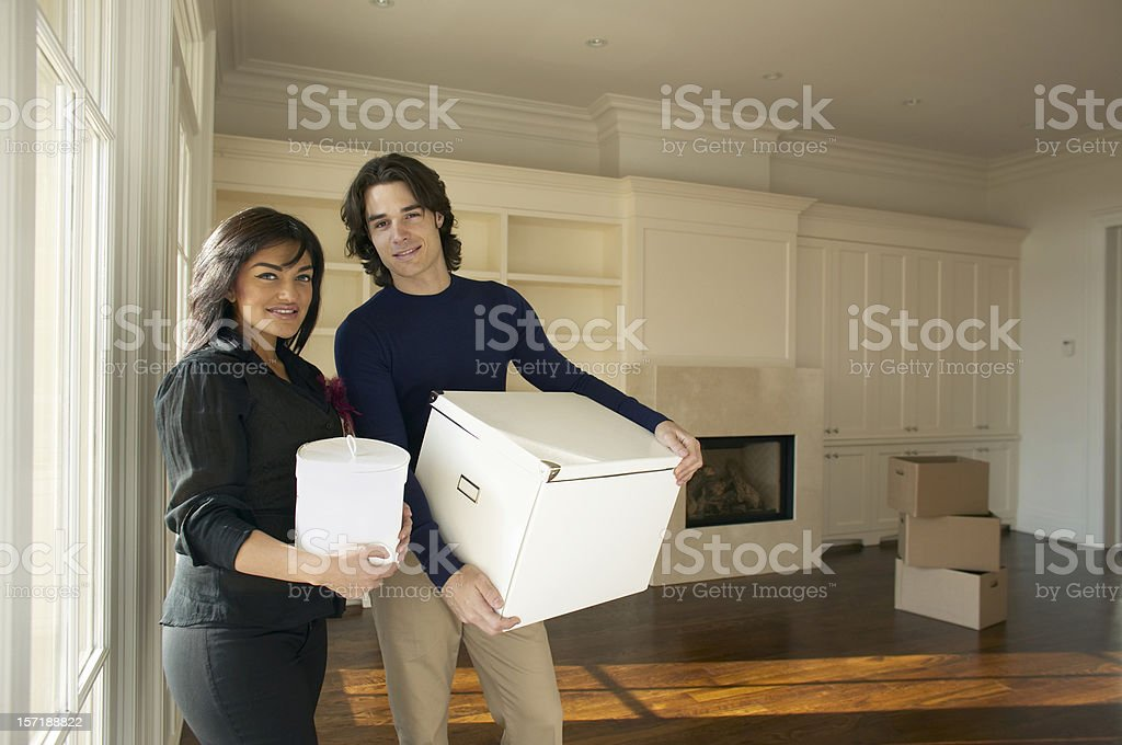 Couple moving in royalty-free stock photo