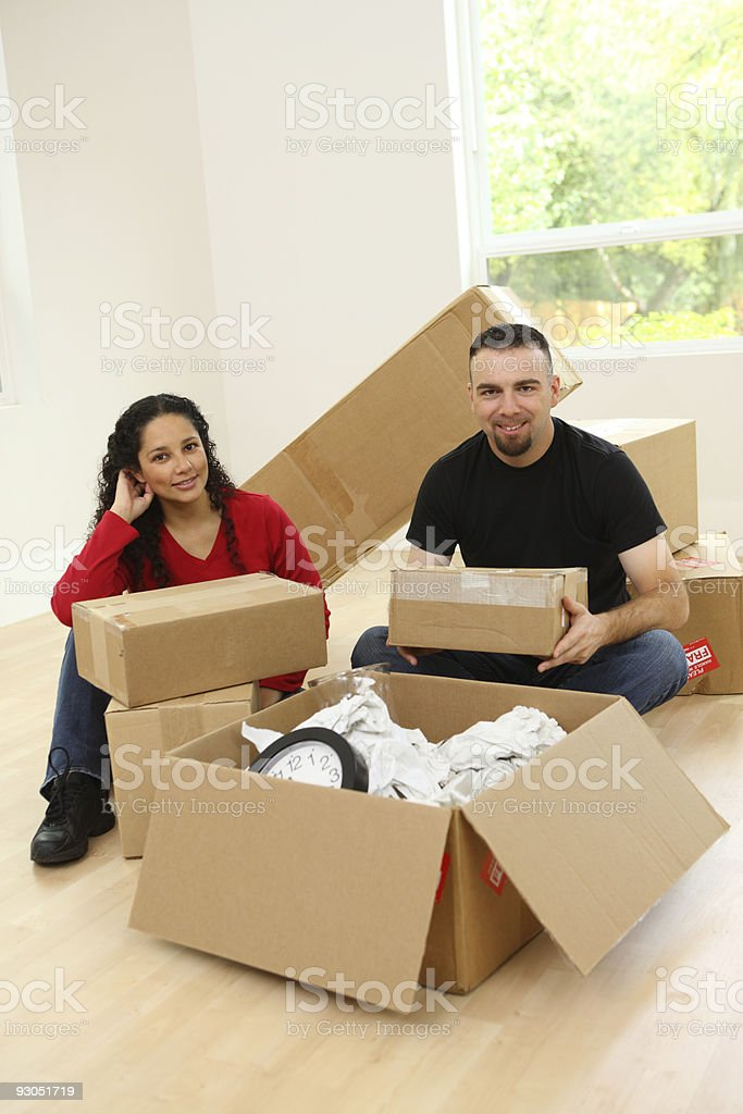 Couple moving in to new home royalty-free stock photo