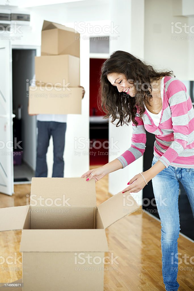 Couple Moving to new apartment royalty-free stock photo