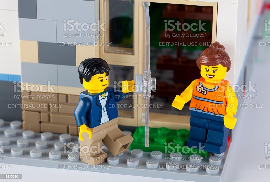 LEGO couple near his home stock photo