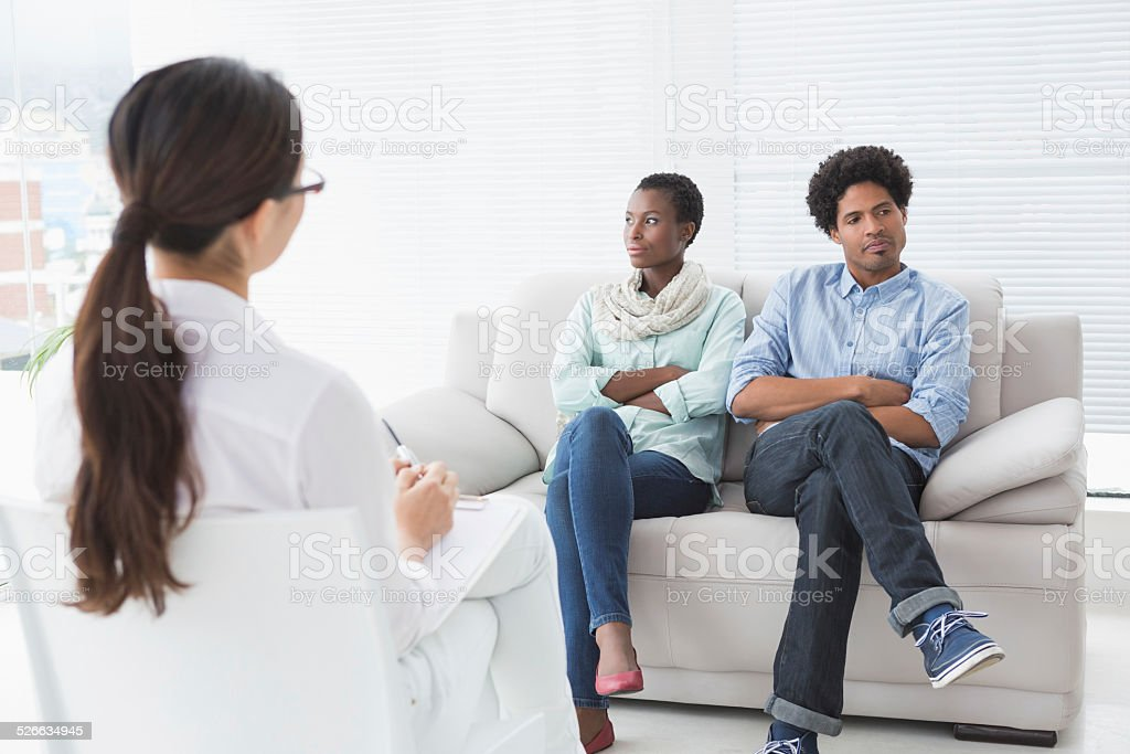 Couple not talking to each other stock photo