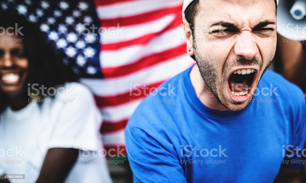 couple of american supporter happiness for the national holiday stock photo