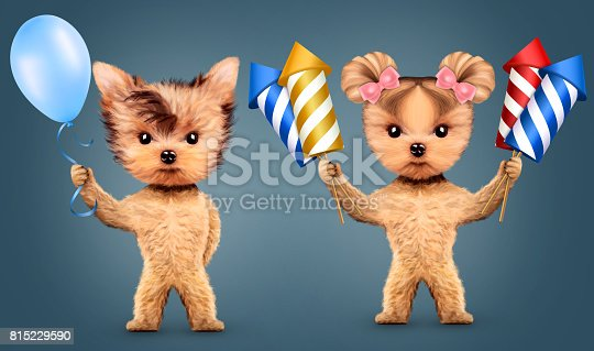 istock Couple of animal holding fireworks and balloons 815229590