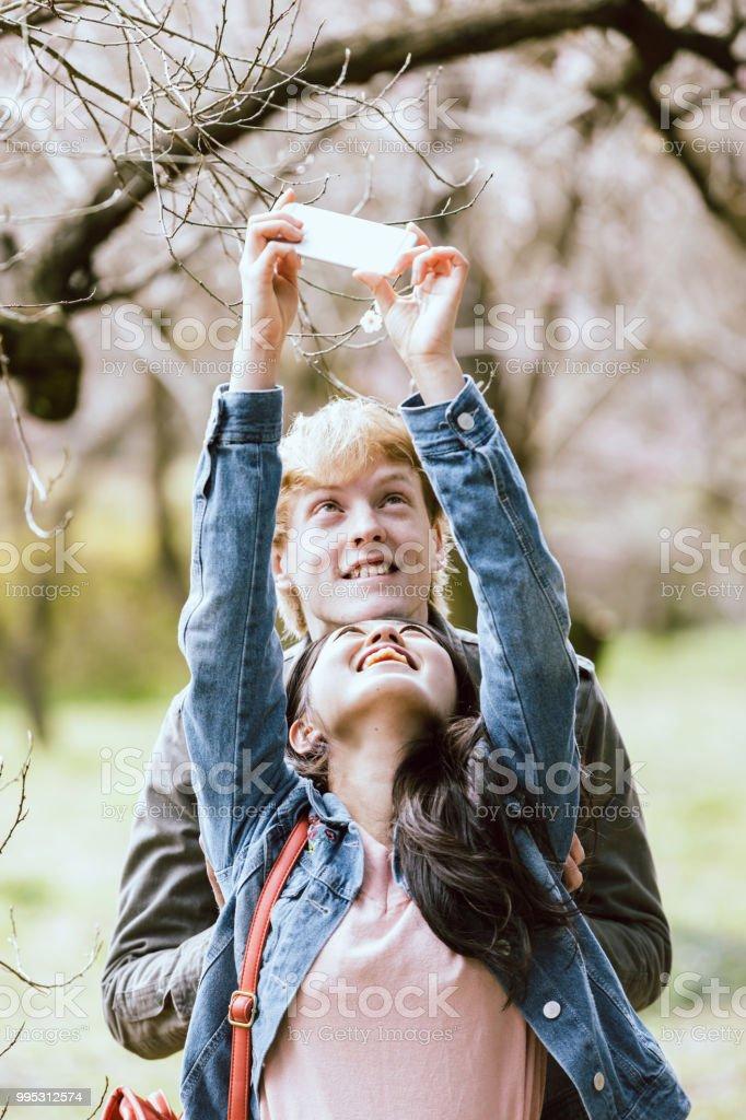 アジア人女性と白人男性のスマート フォンで桜を撮影のカップル ストックフォト