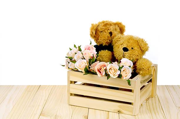 Couple d'ours et Roses Roses dans la pinède Box. - Photo