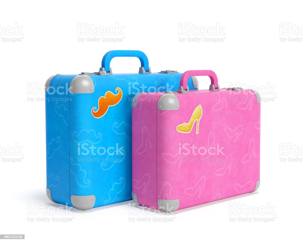 Couple of blue and pink travel suitcases with pasted stickers in the shape of mustache and high heel elegant lady shoe. Romantic love trip or wedding tour of sweethearts stock photo