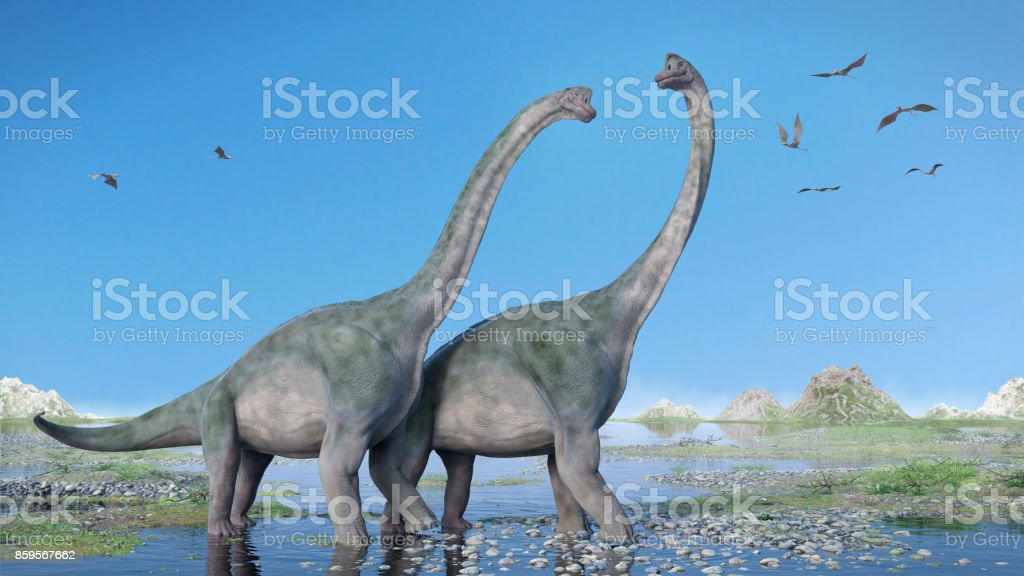couple of Brachiosaurus altithorax and a flock of Pterosaurs in a scenic Late Jurassic landscape pair of giant sauropods walking through water and a swarm of flying pterosaurs Ancient Stock Photo