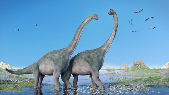 Couple Of Brachiosaurus Altithorax And A Flock Of Pterosaurs In A Scenic Late Jurassic Landscape Stock Photo - Download Image Now