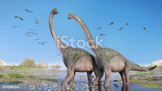 pair of giant sauropods walking through water and a swarm of flying pterosaurs