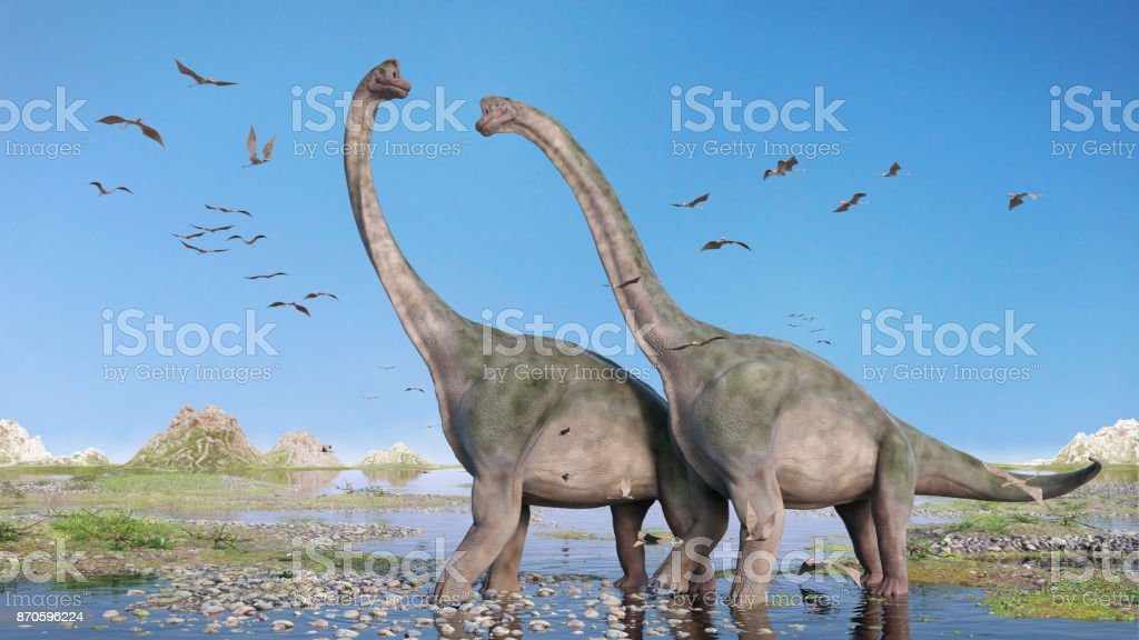 couple of Brachiosaurus altithorax and a flock of Pterosaurs in a scenic Late Jurassic landscape stock photo