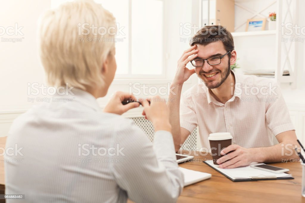 Couple of business partners work at modern office royalty-free stock photo