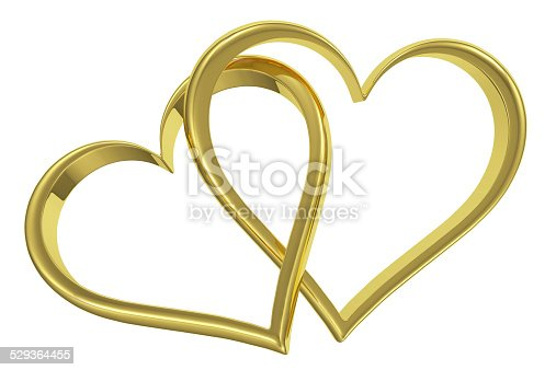 istock Couple of chained golden hearts front view 529364455