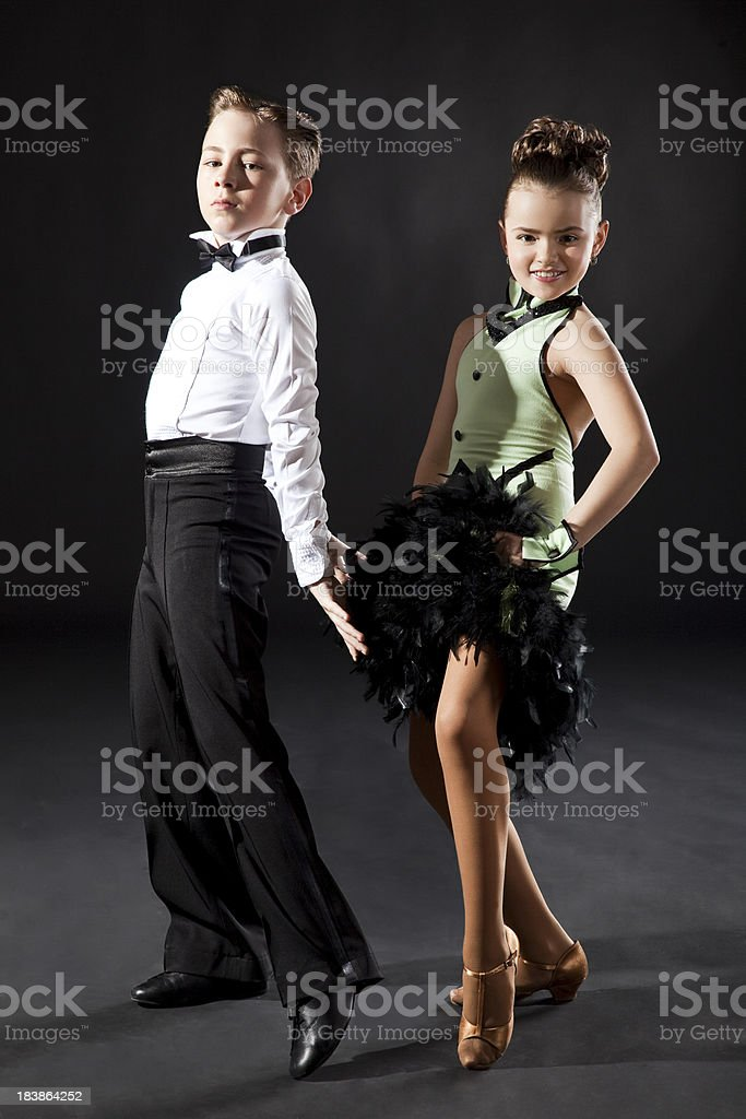 Couple of children dancing royalty-free stock photo