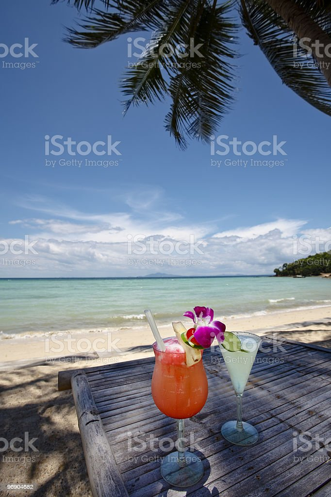 Couple of cocktail at the beach royalty-free stock photo