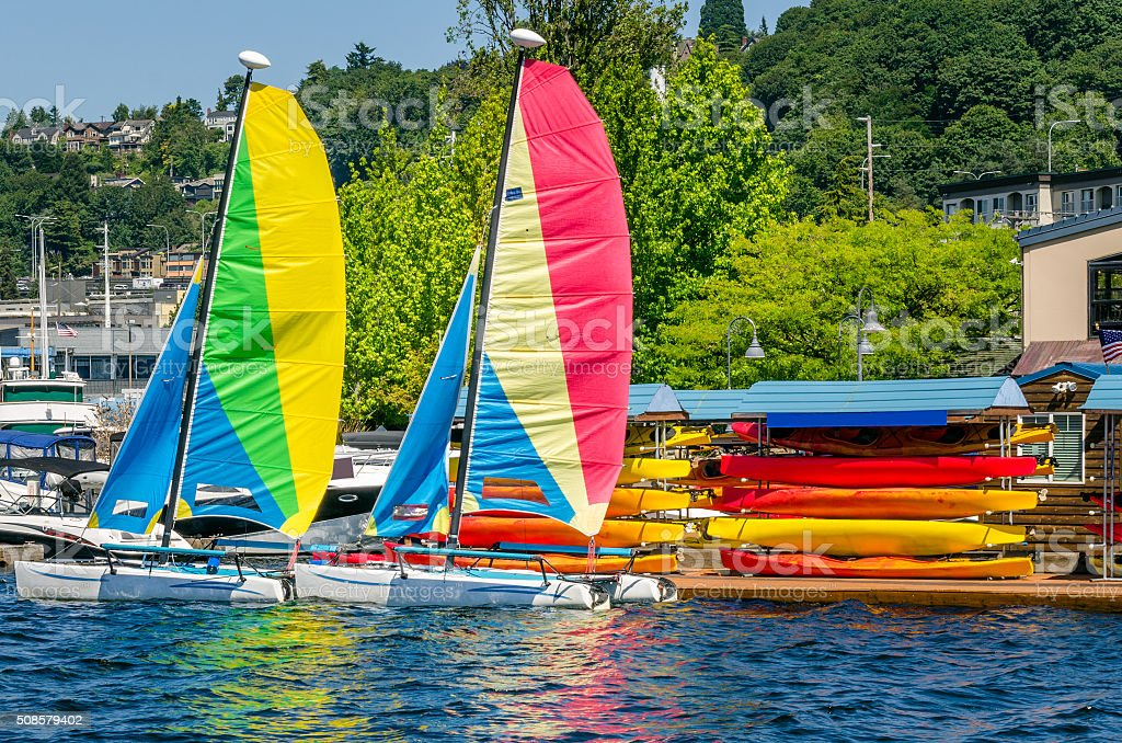 Couple of Colourful Sailing Boats stock photo