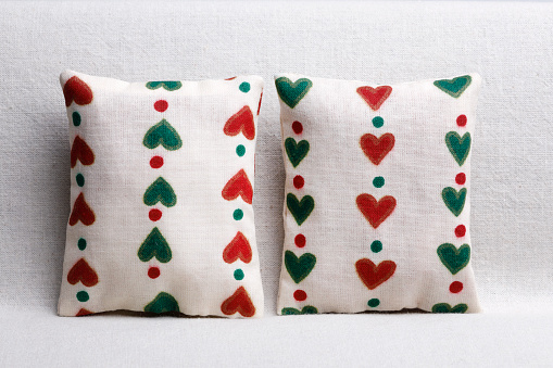 Couple of cushions with hearts