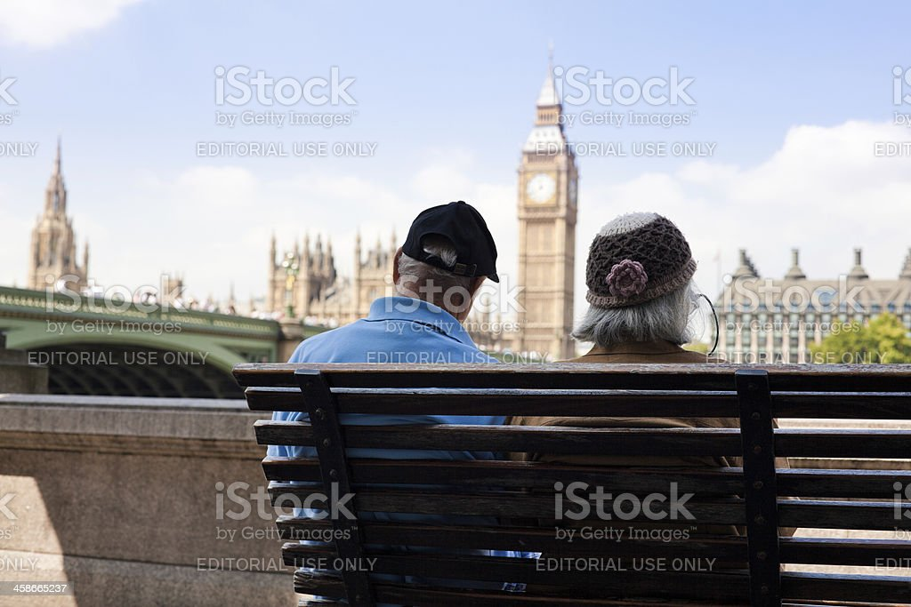 Couple of Elderly on Vacation in London royalty-free stock photo