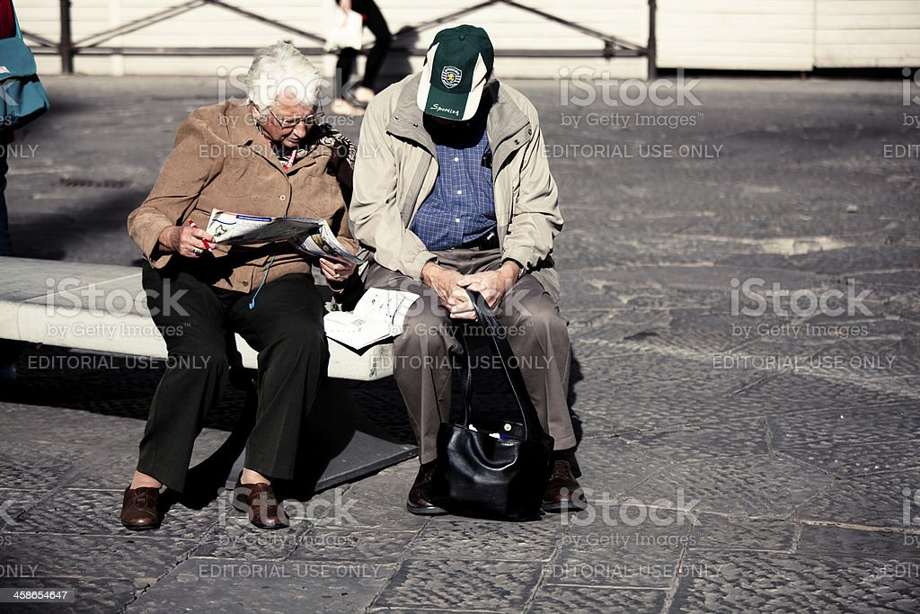 Couple of Elderly People on Vacation in Italy royalty-free stock photo