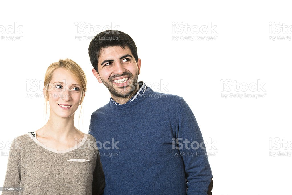Couple of friends looking away royalty-free stock photo