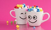 istock Couple of Happy Mug with smiley face. Happiness, smile, fresh and love Concept. Coffee for two. 1286854366