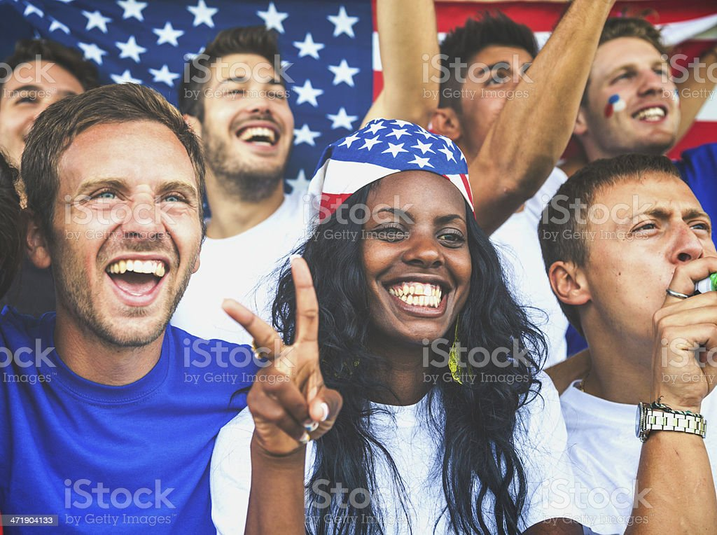 Couple of happy USA supporters royalty-free stock photo