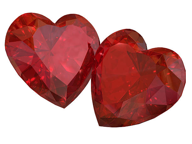 Couple of Heart Rubies stock photo