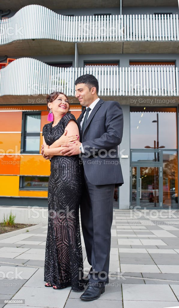 A couple of iranian man and caucasian woman stock photo