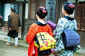オビとカラフルな着物を着た日本人女性のカップル サッシ ショット後方