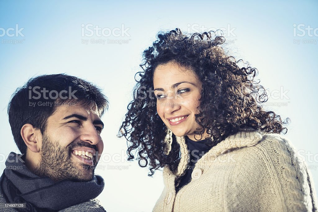 couple of lover smiling outdoors royalty-free stock photo