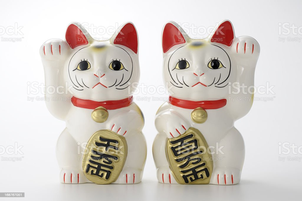 Couple of Luck Cats stock photo