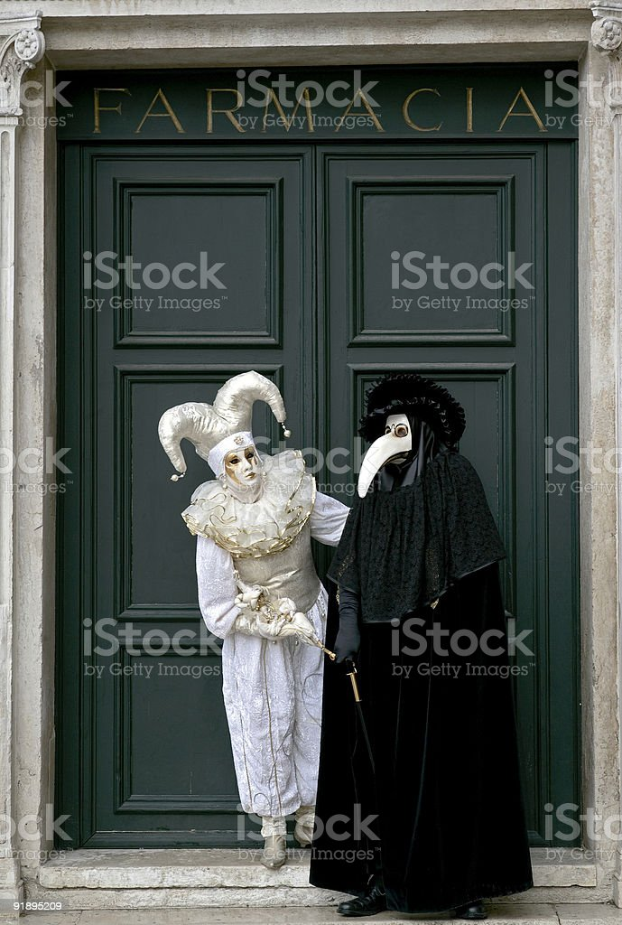 Couple of masks at carnival in Venice, Italy (XL) royalty-free stock photo