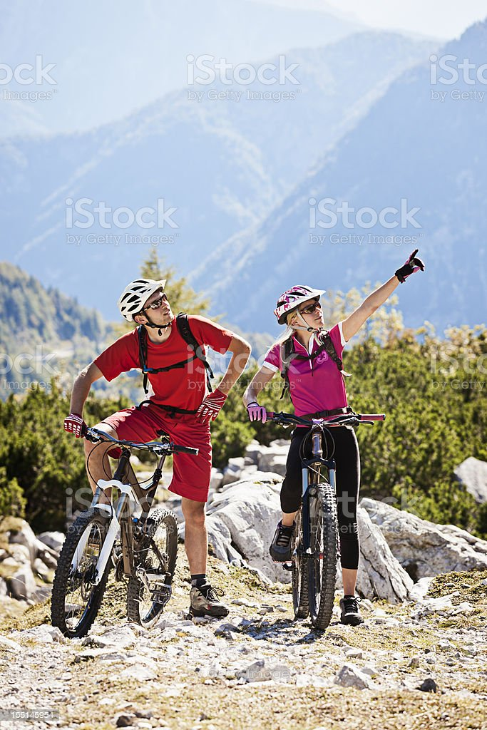 Couple of  mountainbikers royalty-free stock photo