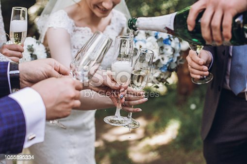 Couple of newlyweds, bride and groom together with bridesmaids and groomsmen drinking champagne outdoors hands closeup, wedding celebration with friends