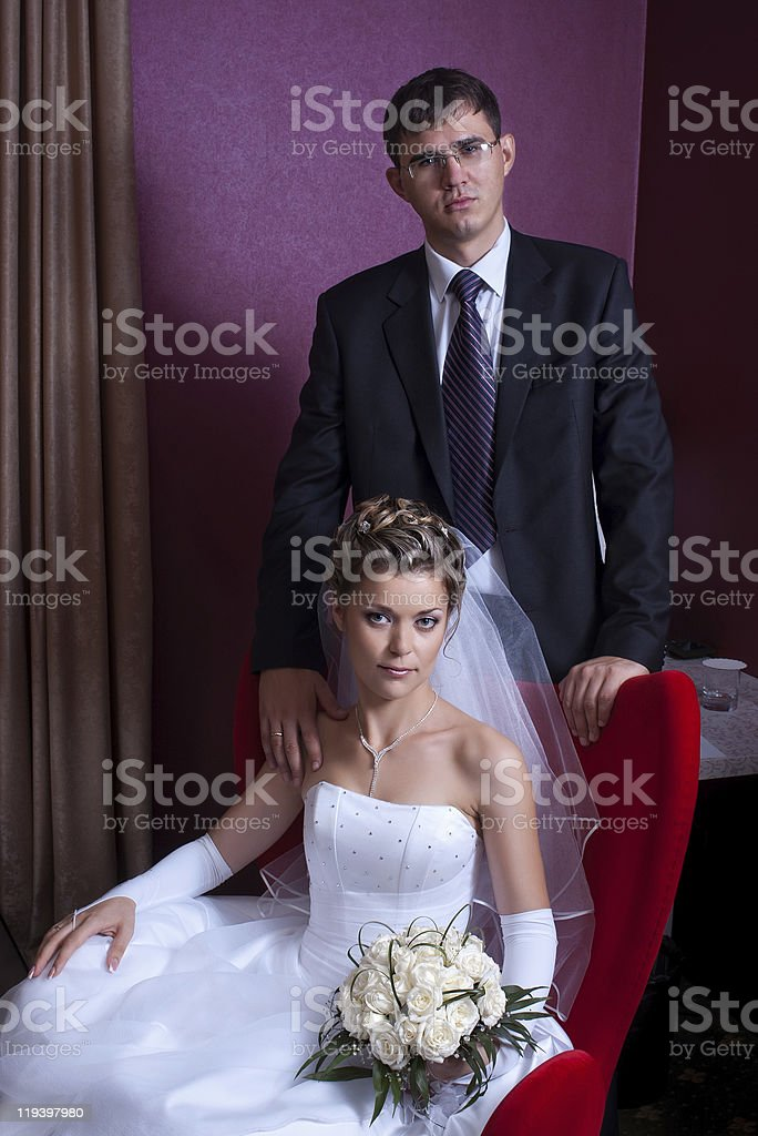 couple of newlyweds in interior royalty-free stock photo