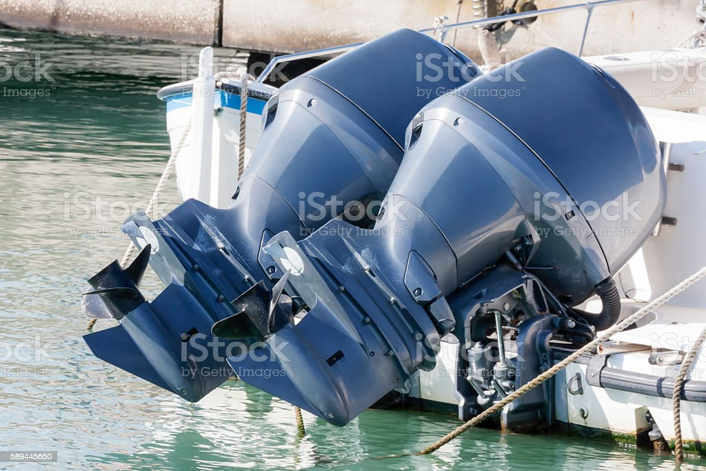 Couple of outboard engines stock photo