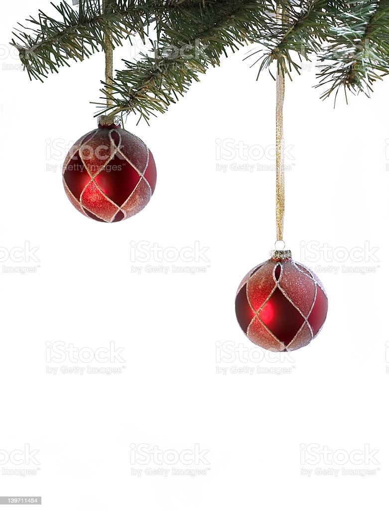 couple of red christmas balls with place for writing royalty-free stock photo