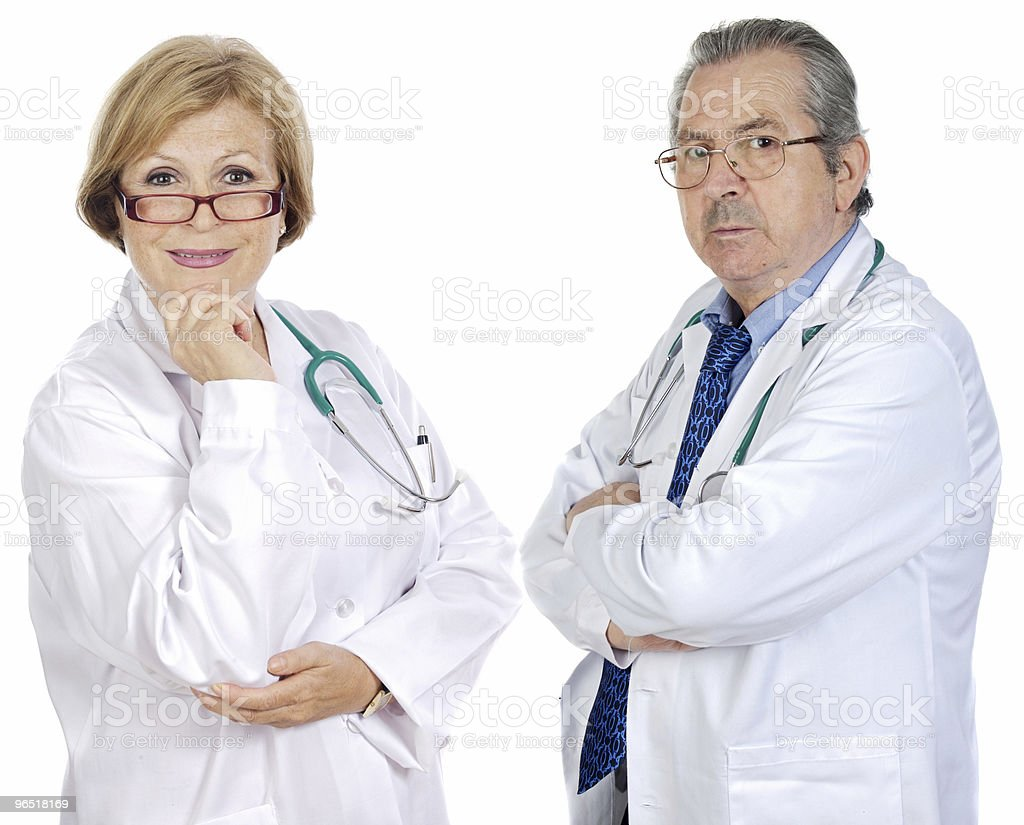 Couple of seniors doctors royalty-free stock photo