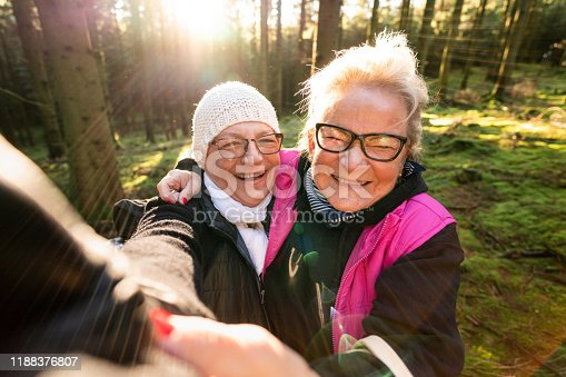 istock A couple of seniors taking selfies on a hike 1188376807