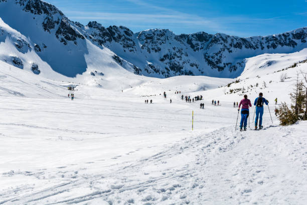 Dağlarda bir vadide bir yolculukta birkaç kayakçılar. stok fotoğrafı