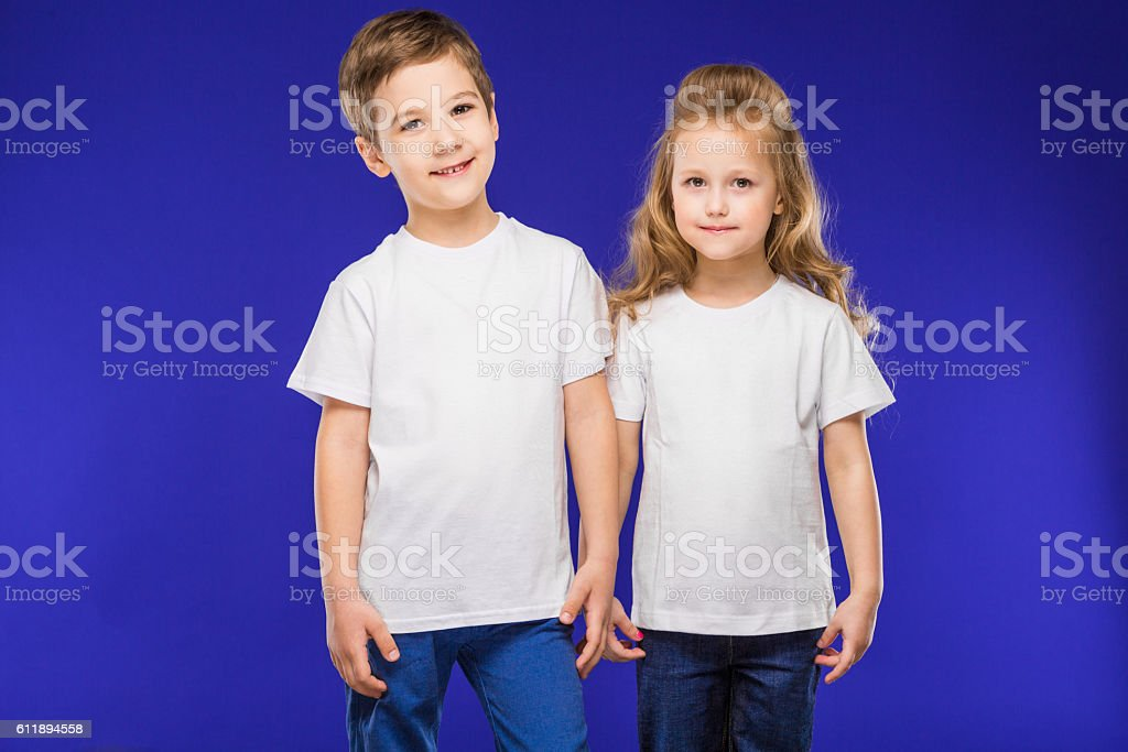 couple of small children stock photo