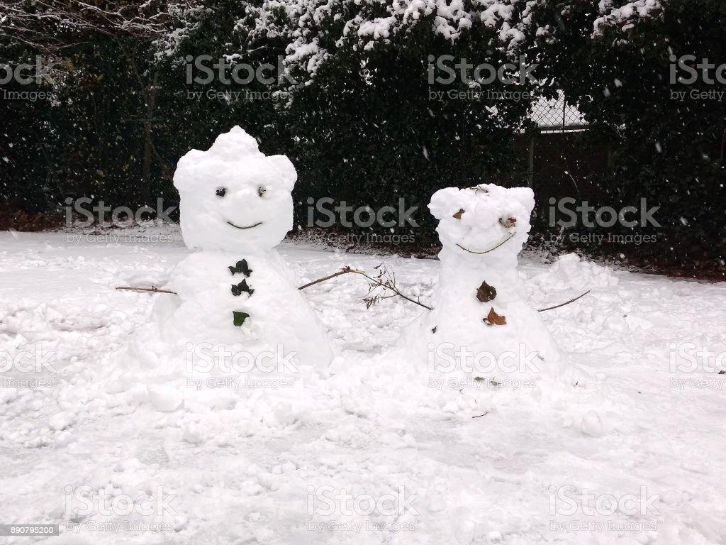 Couple of snowmen in London stock photo