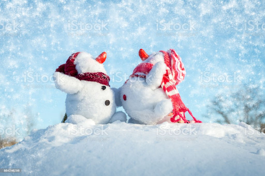 Couple of snowmen royalty-free stock photo