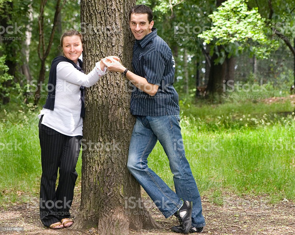 Couple of students in park royalty-free stock photo