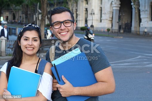 Couple of students on the street.