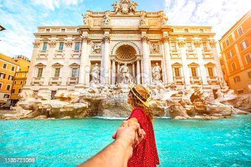 istock Couple of tourist on vacation in front of Trevi Fountain Italy 1135721059