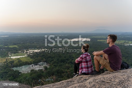istock A couple of tourists observing beautiful panorama from mountain in Sri Lanka 1297484690
