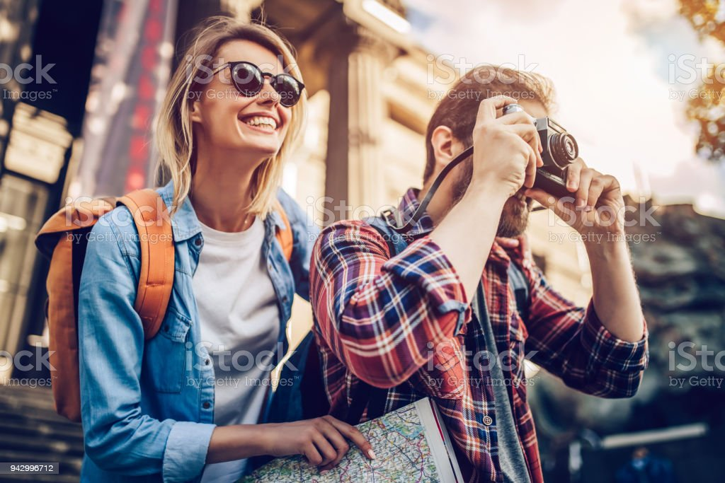 Couple of tourists stock photo