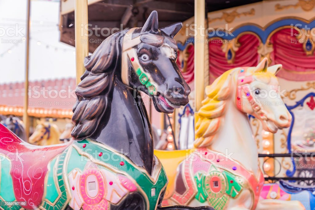 Couple Of Vintage Carousel Horses Merrygoround In A Holiday Park Stock Photo Download Image Now Istock