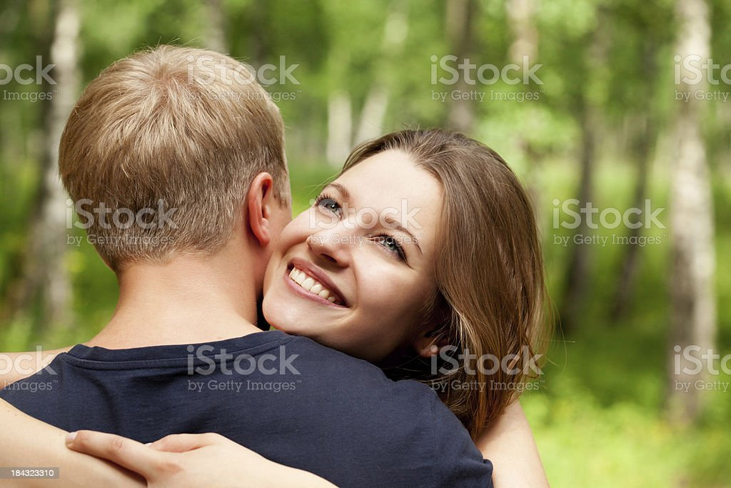 Couple of young embracing people royalty-free stock photo