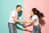 istock A couple of young man and woman dancing hip-hop at studio 993737060